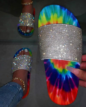 Yearnshoes Womens Glittering Multicolor Slides With Rhinestone