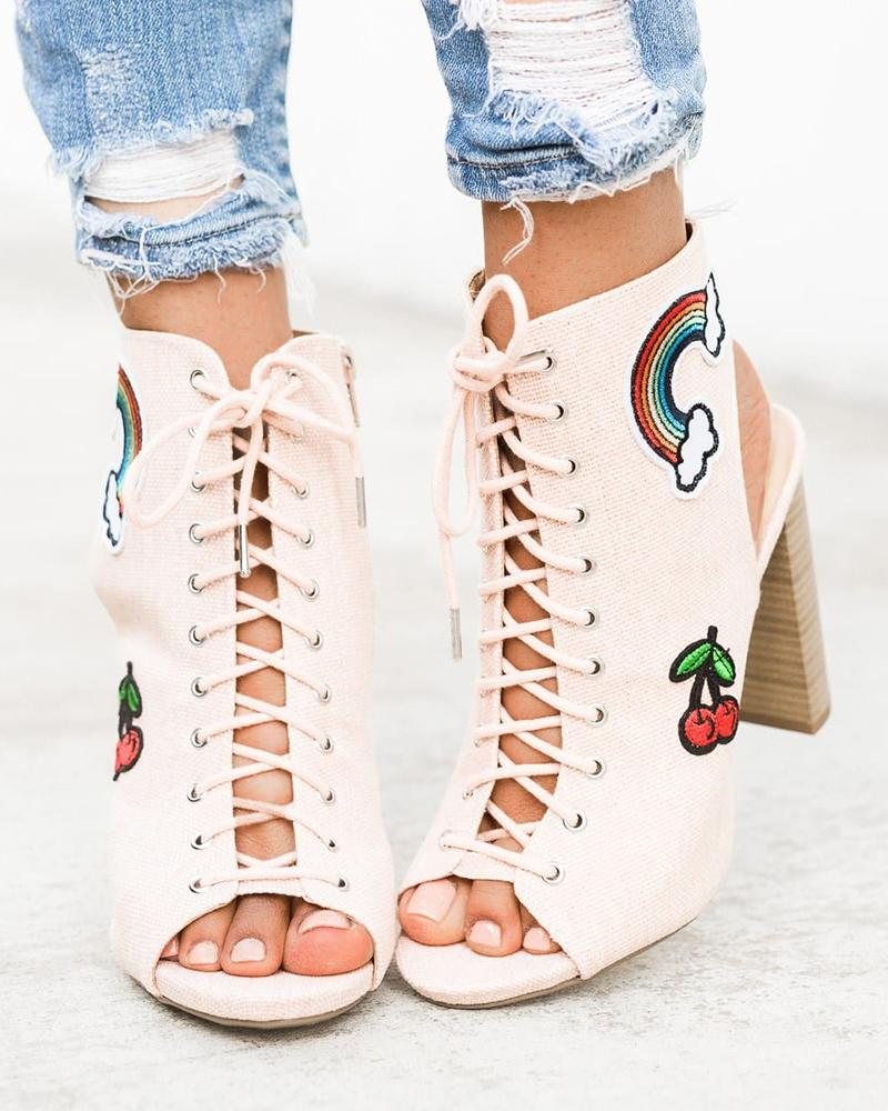 FarrGo Peep Open Toe Slingback Lace-up Rainbow Cherry Printed Sandals