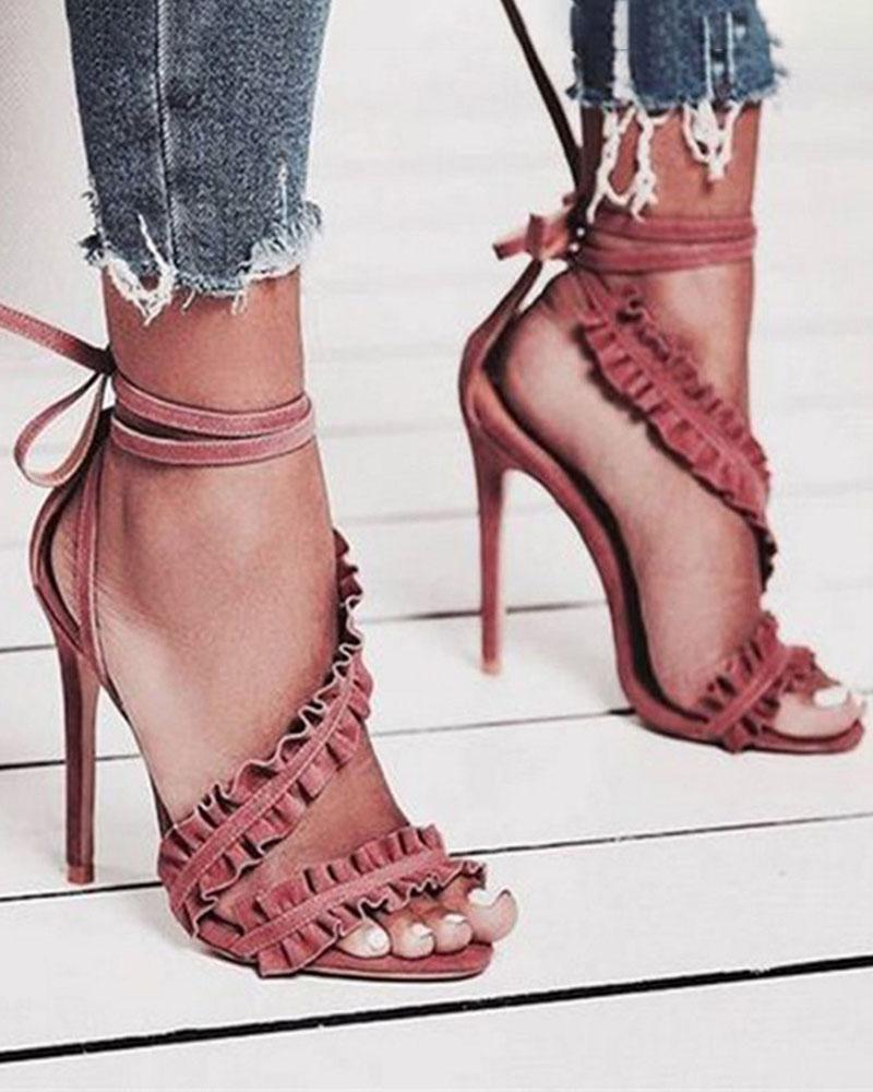 Yearnshoes Ruffles Strap Lace-up Stilettos Point Toe Solid Color Sandals