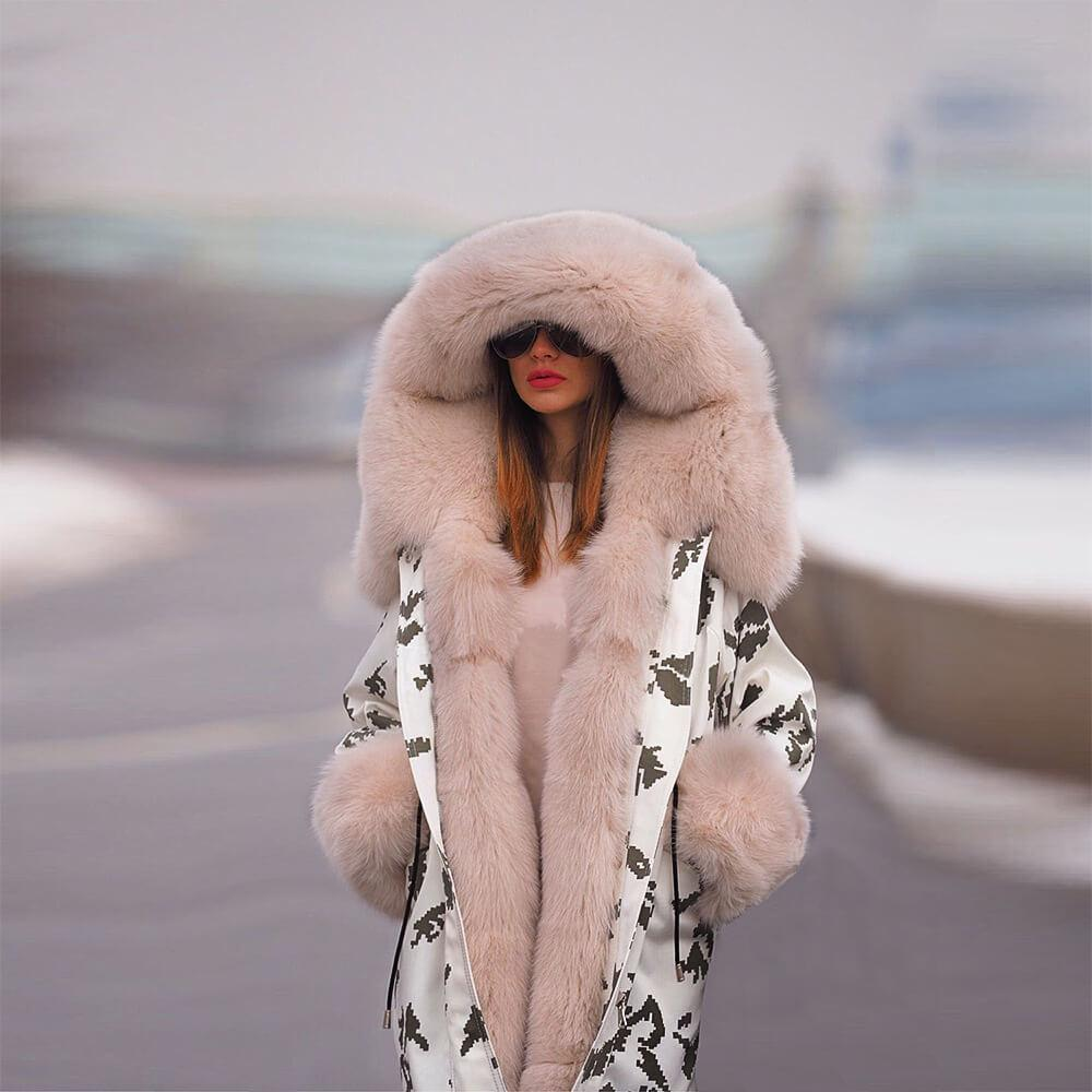 FarrGo Hooded Jacket Fur Collar Coat