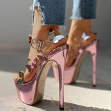 FarrGo Butterfly Stiletto Transparent Strap Buckle Platform Pumps