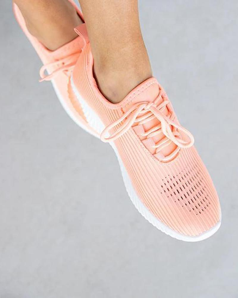 FarrGo Breathable Elastic Cuff Elastic Cuff Embellished Solid Color Sneakers
