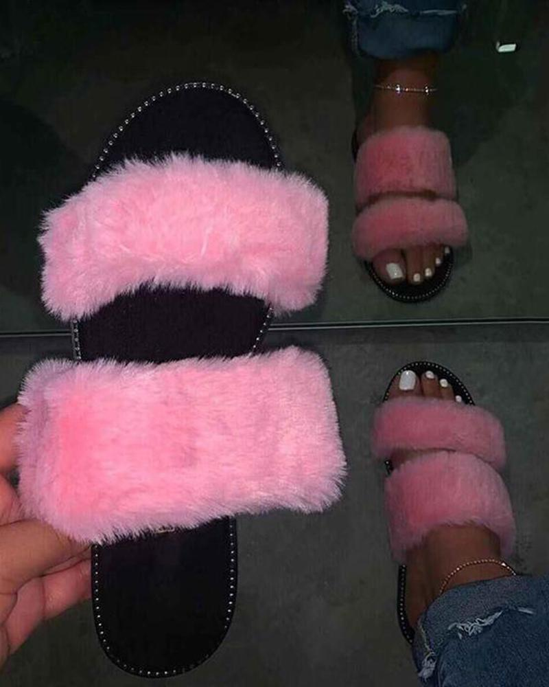 Yearnshoes Fluffy Double-strap Slippers Slip-on Fashion Slides