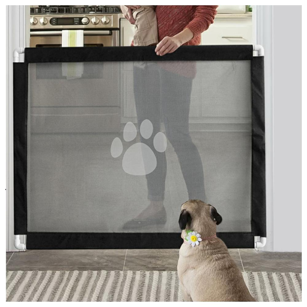 Yearnshoes Folding Pet Gate Black Portable Universal Dog Fence