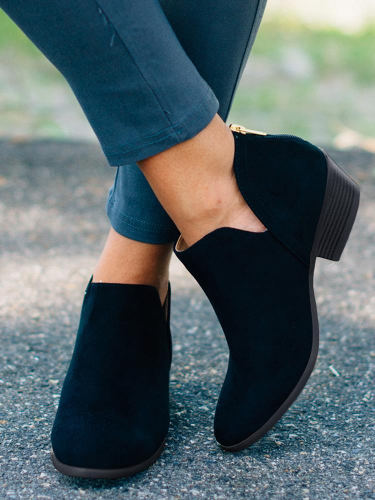 FarrGo Almond Toe Cut Out Ankle Boots