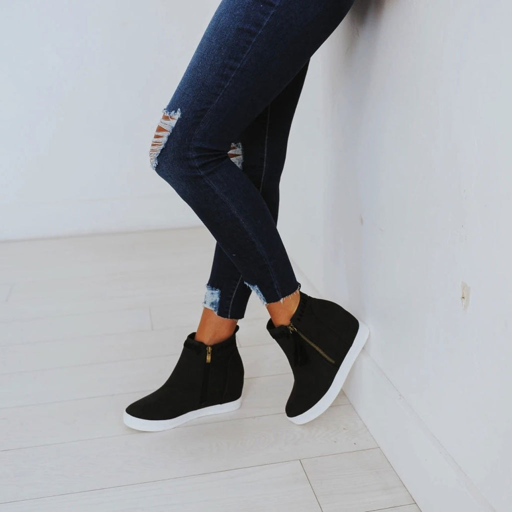 FarrGo Platform Sneakers Hidden Wedges Ankle Boots with Tassel