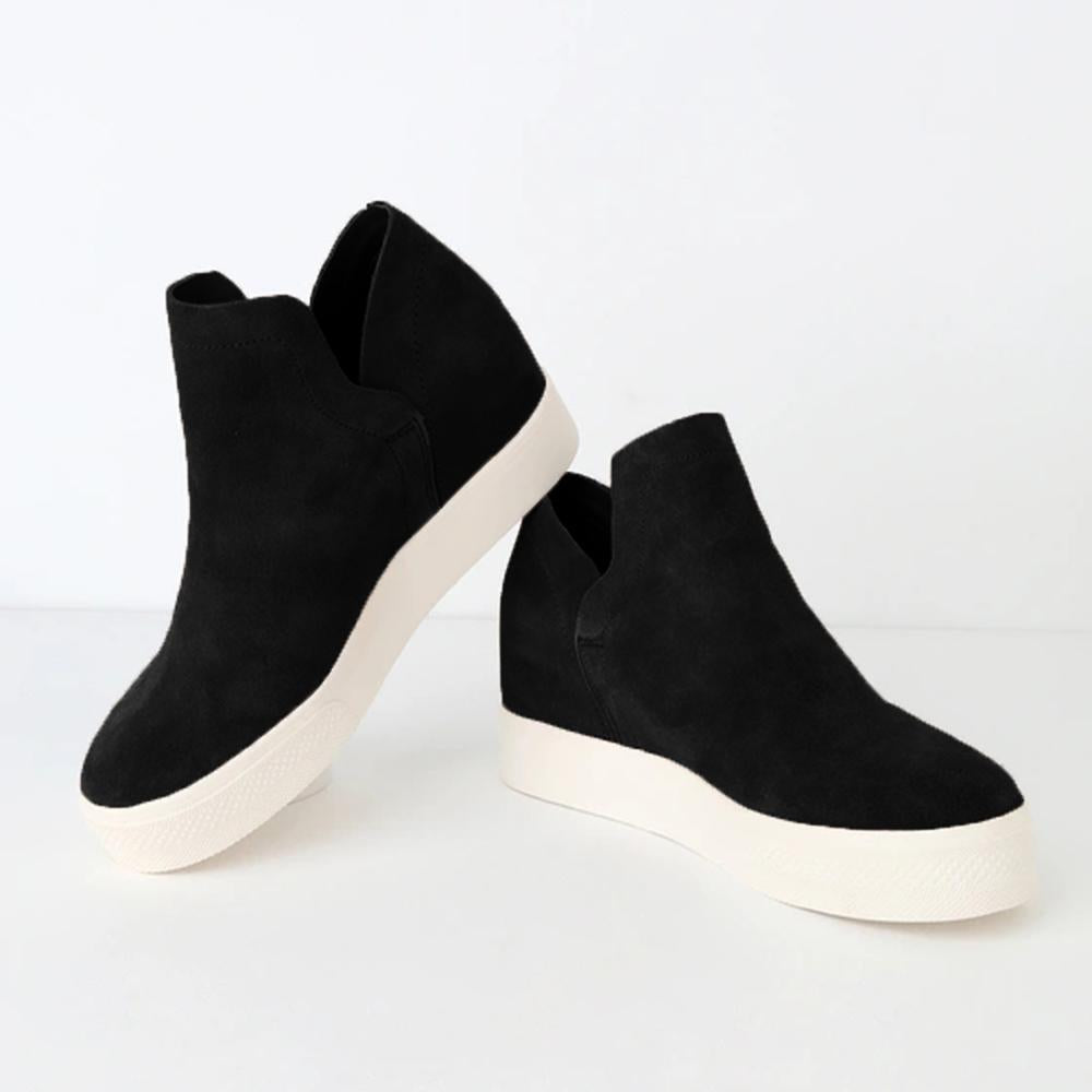 Yearnshoes Women's Platform Sneakers Hidden Wedges Faux Suede Perforated Ankle Booties