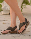 FarrGo Platform Hollow Out Wedges Buckle Ankle Strap Open Toe Thong Sandals