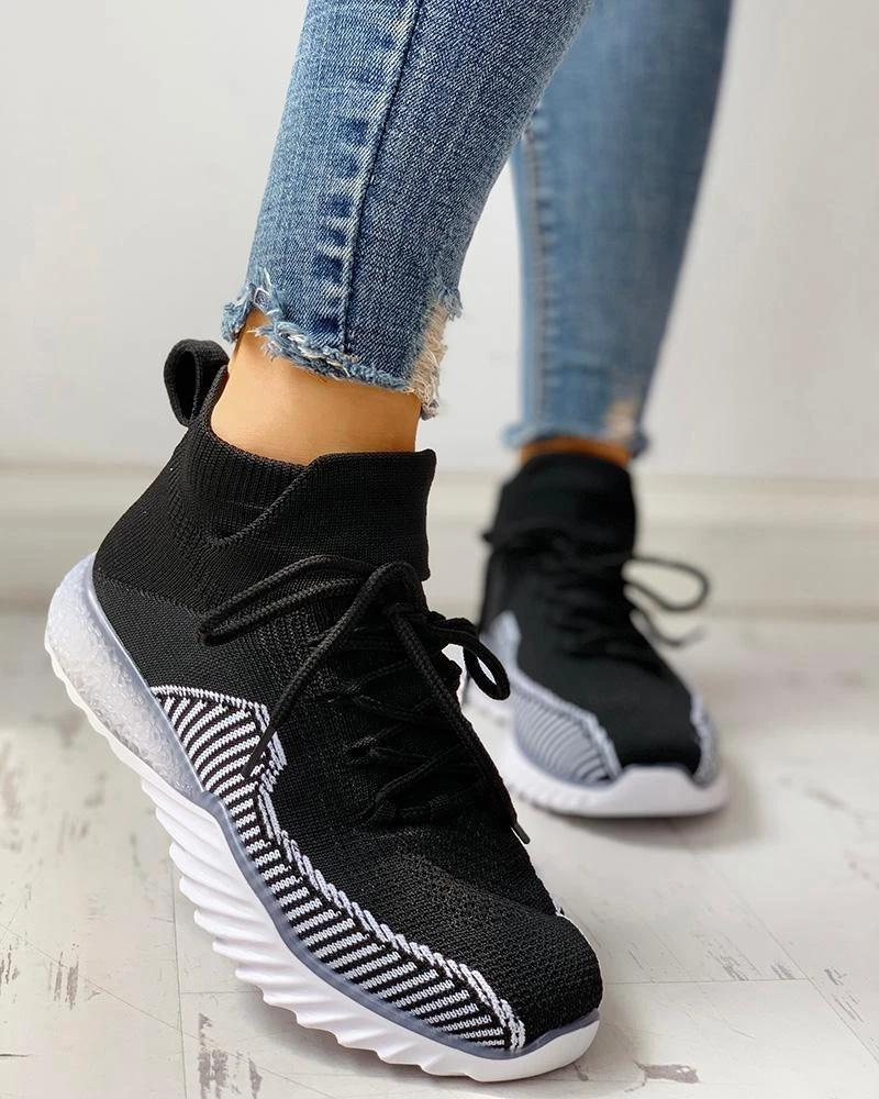 FarrGo Striped Elastic Cuff Stitching Color Lace Up Breathable Sneakers