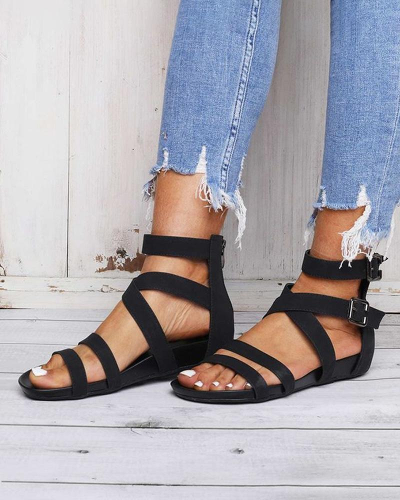 Yearnshoes Buckled Ankle Strap Open Toe Cirss-cross Strap Solid Color Sandals