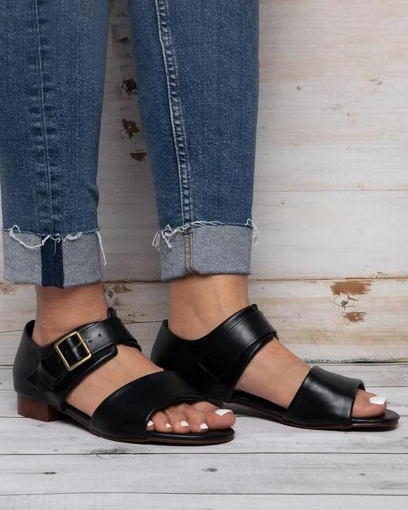 Yearnshoes Peep Open Toe Buckle Strap Cut-out Solid Color Sandals