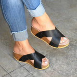 Yearnshoes Womens Open Toe Slip On Wedge Sandals Faux Leather Slides