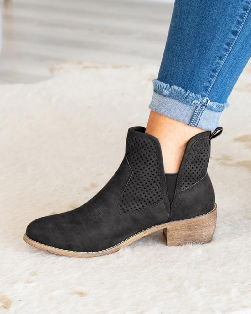 FarrGo Pointed Toe Slip-on Hollow-out Embellished Ankle Boots