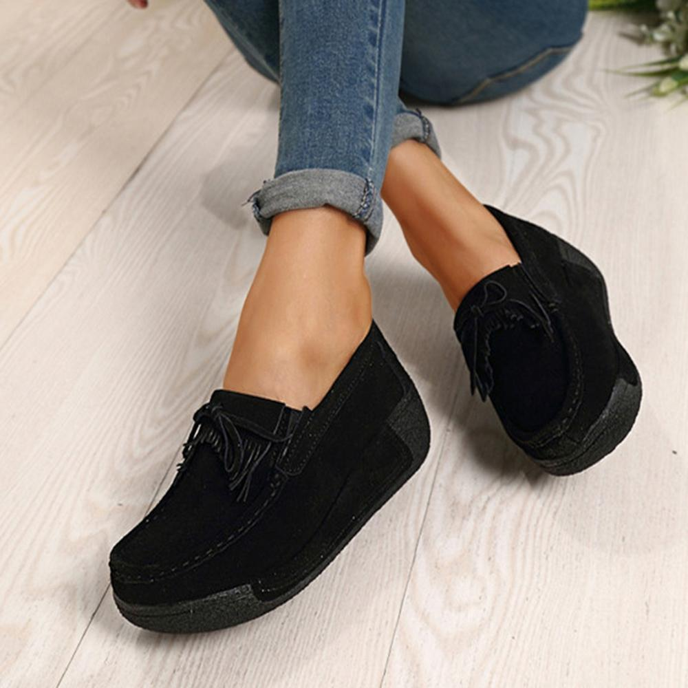 FarrGo Women's platform suede casual slip on flats shoes
