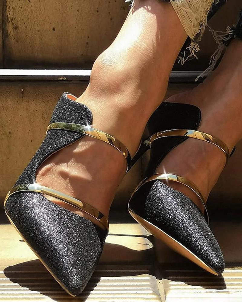 Yearnshoes Stylish Sparkling Double Gold Strap Slide Pumps