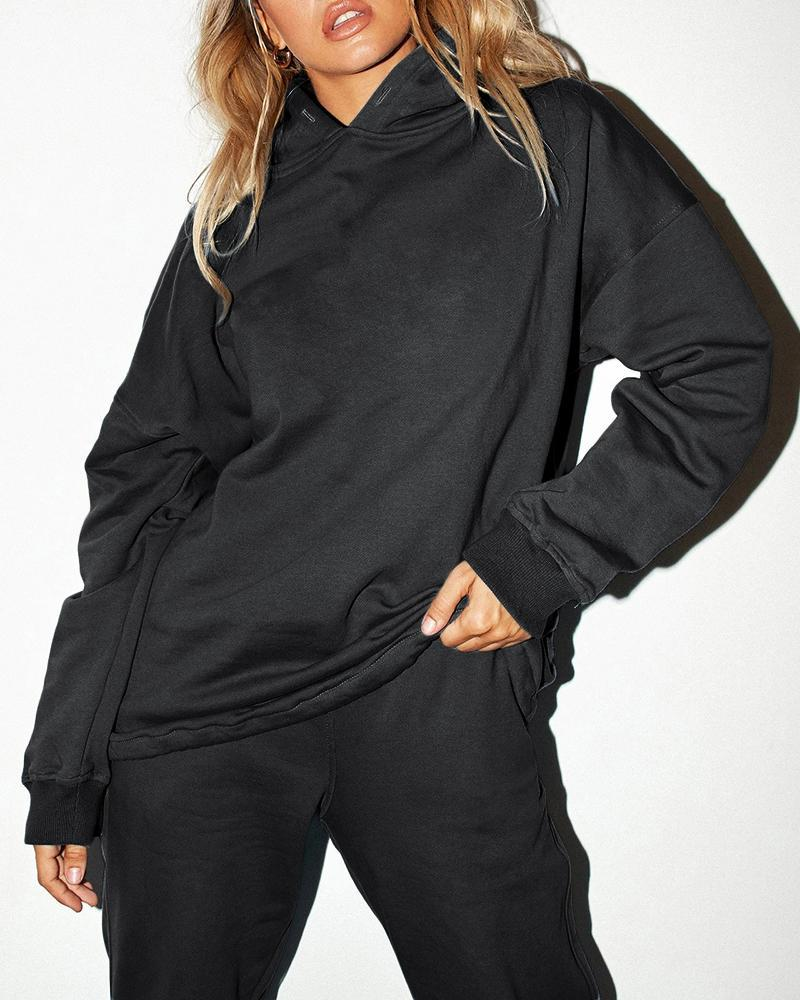 FarrGo 2 Piece Outfit Hooded Long Sleeve Tops and Pants Set Tracksuits