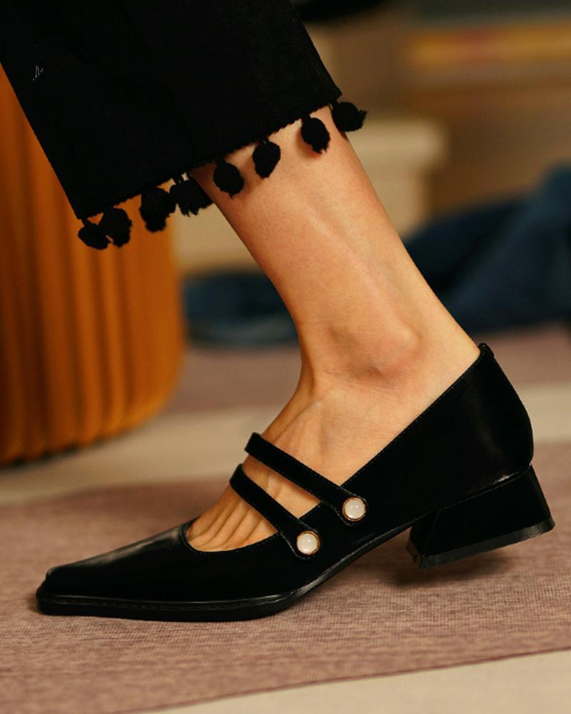 FarrGo Low Chunky Heels Pointed Toe Loafers