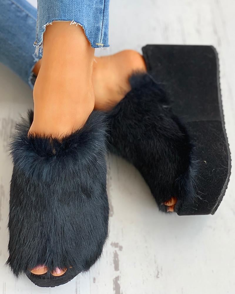 FarrGo Peep Open Toe Faux Fur Slip-on Slippers