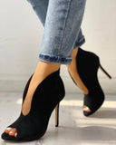 FarrGo V-Shape Cut Out Stilettos Peep Open Toe Ankle Boots Point Toe Sandals