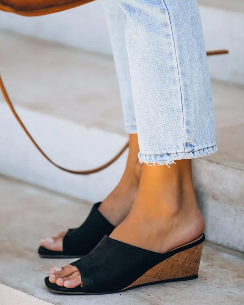 Yearnshoes Square Open Toe Wedges Slip-on Solid Color Sandals