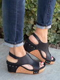 Yearnshoes Rivet Cut-out Open Toe Slingback Wedges Buckled Ankle Strap Sandals