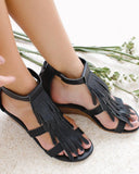 Yearnshoes Tassel Decoration Ankle Strap Wedge Sandals