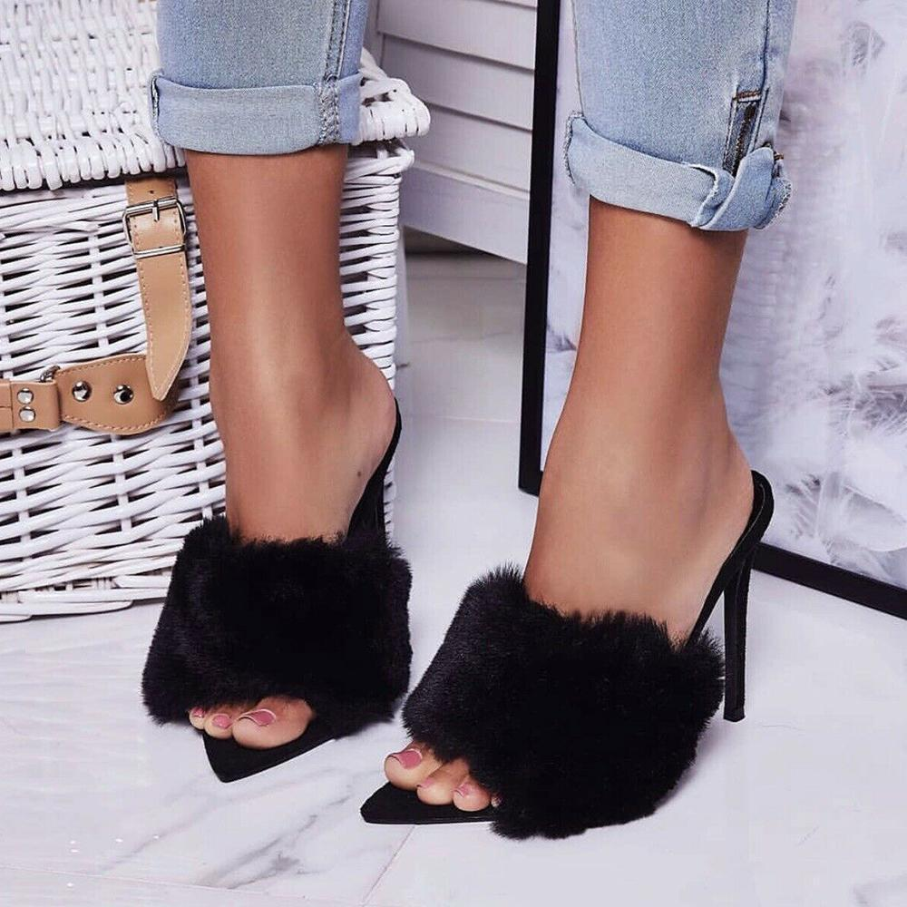 Yearnshoes Womens Pointed Toe Furry High Heels Pumps