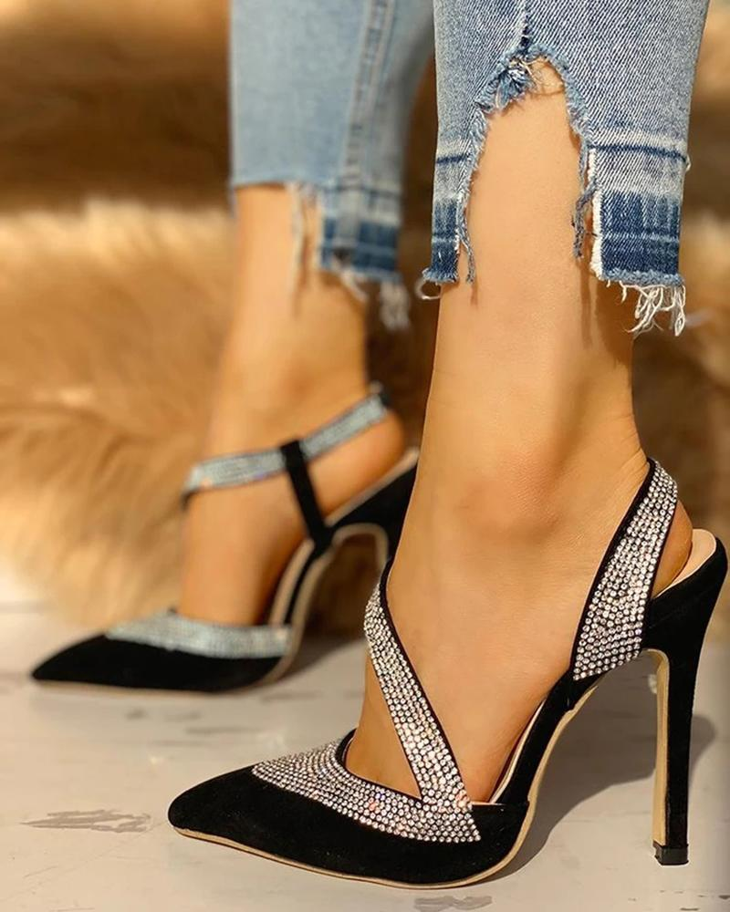 FarrGo Point Toe Slingback Stilettos Glitter Embellished Elegant Sandals