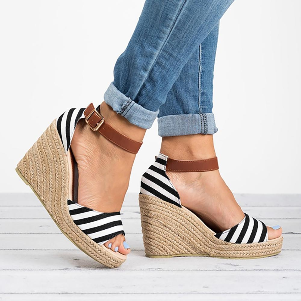 Yearnshoes Peep Toe Wedge Ankle Strap Sandals