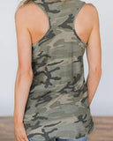 Yearnshoes Sleeveless Camouflage Tanks Tops Round Neck Tees