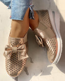 Yearnshoes Bowtie Comfortable Wedge Loafers Slip-on Mermaid Sneakers