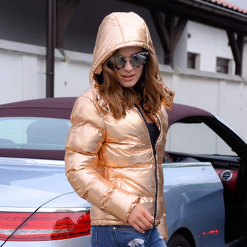 FarrGo Hooded Shinny Short Down Jacket Stylish Windcoat
