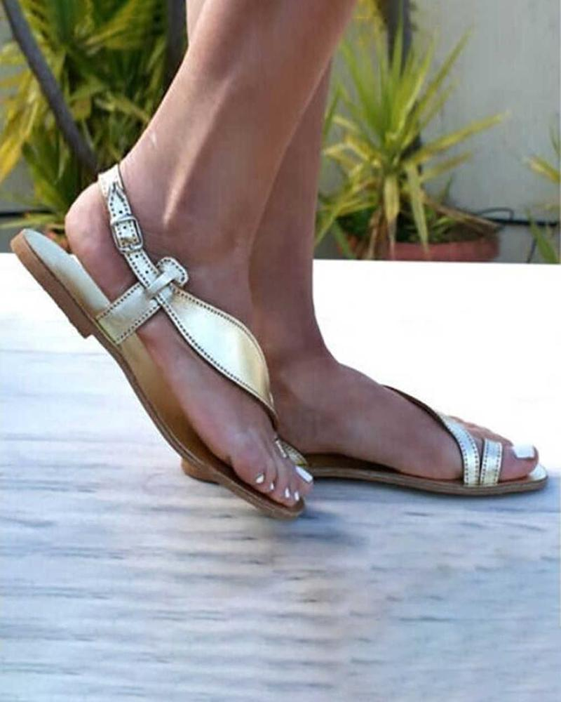 Yearnshoes Ring Toe Buckled Strap Slingback Open Toe Leaf Strap Sandals