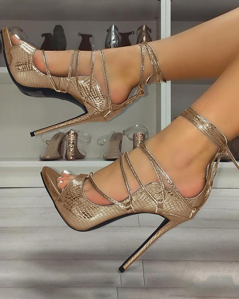 FarrGo Snakeskin Lace-Up Thin Heeled Sandals Open Toe High Heel Party Pumps