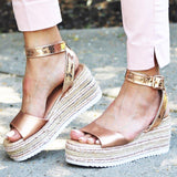 Yearnshoes Womens Open Toe Ankle Strap Espadrilles Platform Sandals