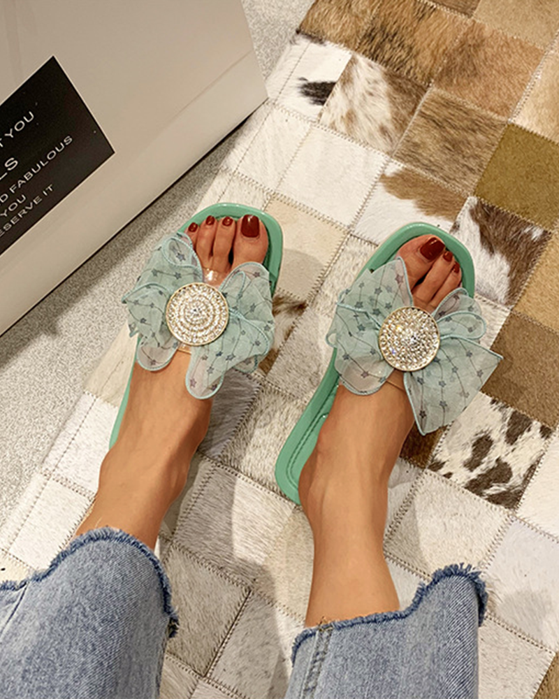 Yearnshoes Rhinestone Embellished Bowknot Flat Sandals