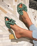 Yearnshoes Polka Dot Cute Bow Knot Low Chunky Heel Sandals