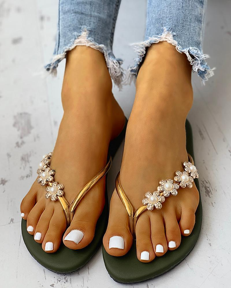 Yearnshoes Casual Floral Pearl Flat Comfy Flip Flops