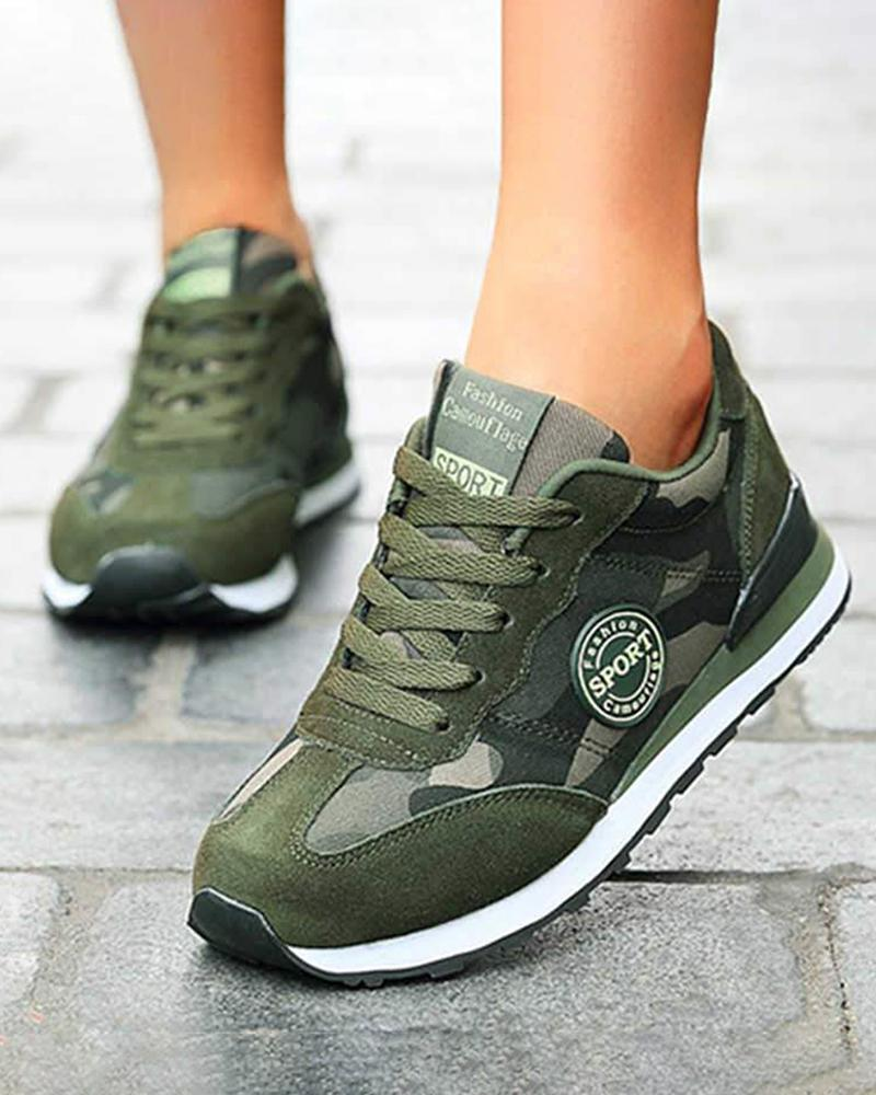 FarrGo Arm Green Lace-up Running Shoes Comfortable Sneakers