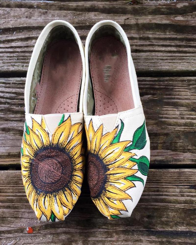 FarrGo Sunflower Printed Square Closed Toe Flats Graphic Slip-on Loafers