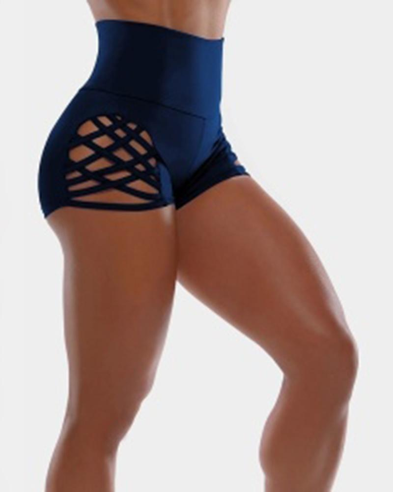 FarrGo High Waist Tommy Control Side Hollow Out Yoga Shorts
