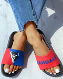FarrGo Womens Cute Dog Color Block Casual Slides