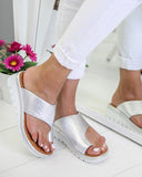 Yearnshoes Toe Ring Platform Wedges Single Strap Solid Color Causal Slides