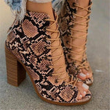 FarrGo Lace-up Open Toe Chunky Heel Cut-out Ankle Boots