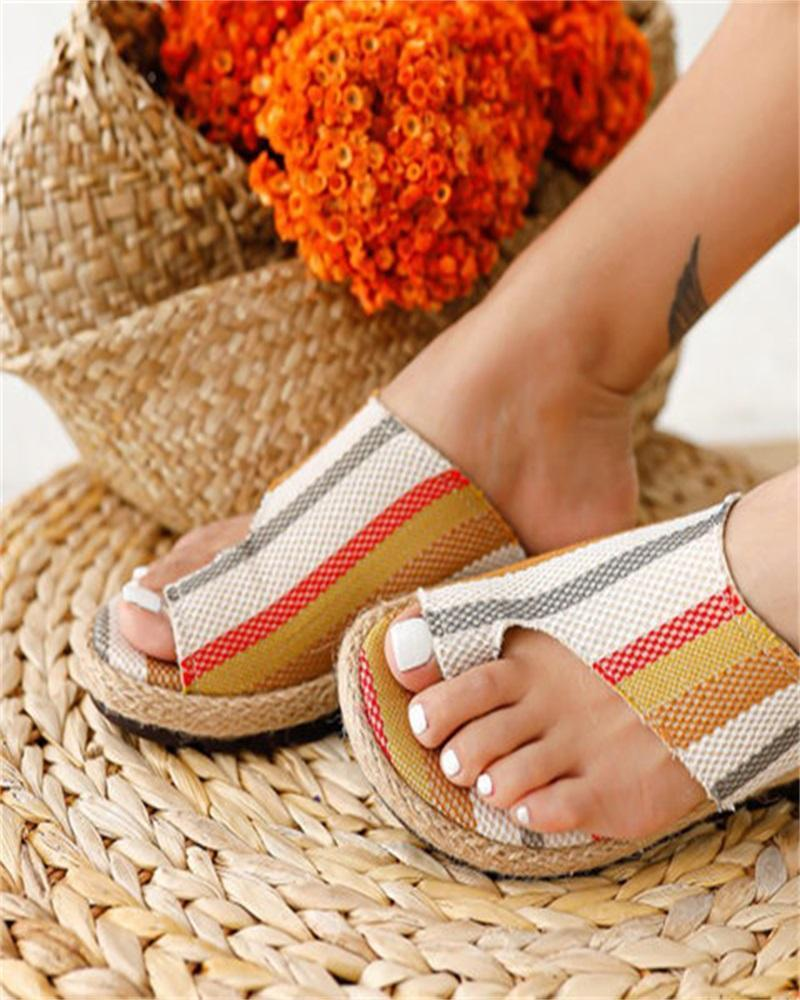 Yearnshoes Womens Fabric Split Toe Casual Slide Sandals