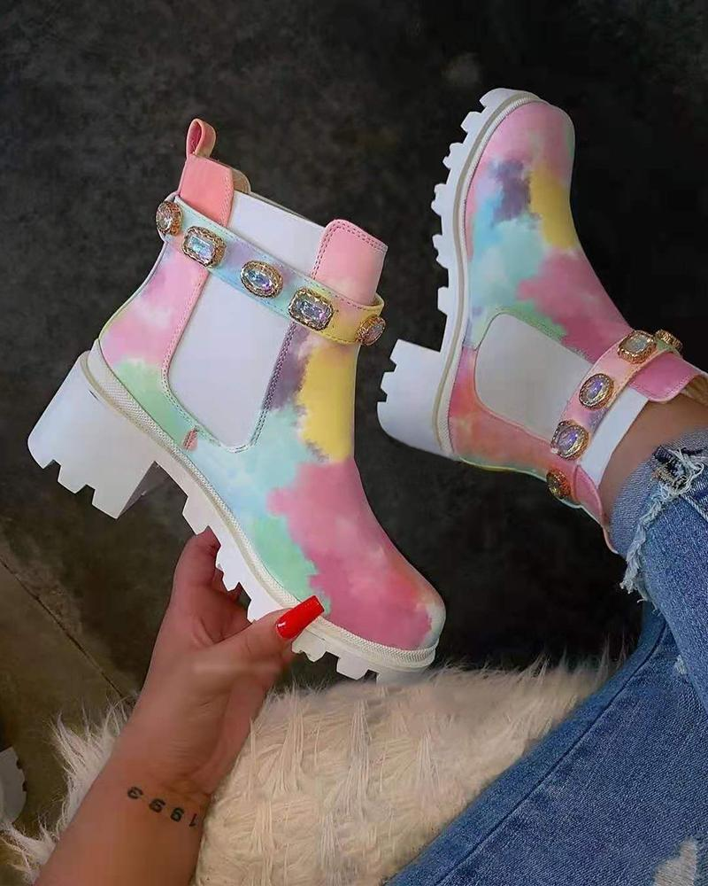 FarrGo Colorful Rhinestone Embellished Watercolour Heeled Chelsea Boots