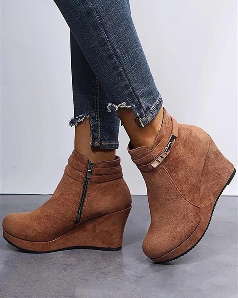 FarrGo Solid Color Wedges Buckle Ankle Strap High Heeled Booties