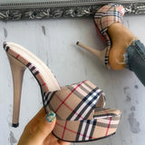 Yearnshoes Peep Open Toe Plaid Slip-on Slingback Stilettos Thin Heeled Sandals
