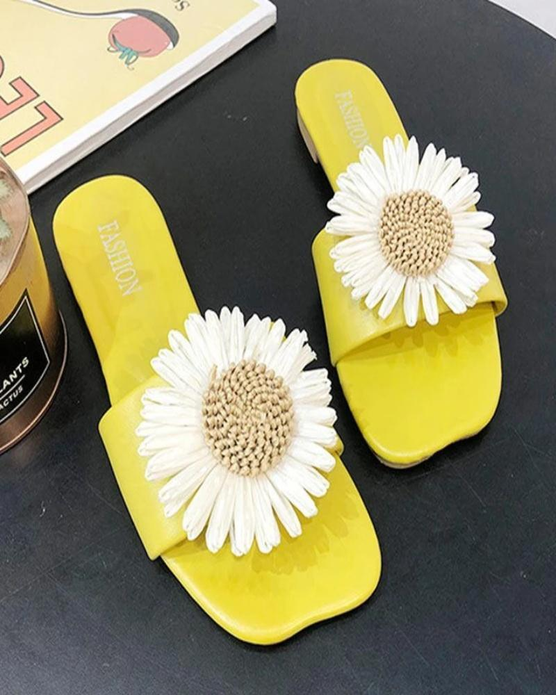 Yearnshoes Square Open Toe Sunflower Slippers Embellished Solid Color Slides
