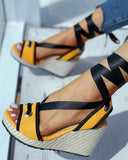 Yearnshoes Ankle Lace up Espadrille Wedges Peep Toe Sandals